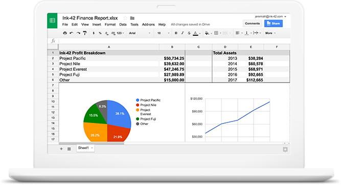 screenshot van het product Spreadsheets